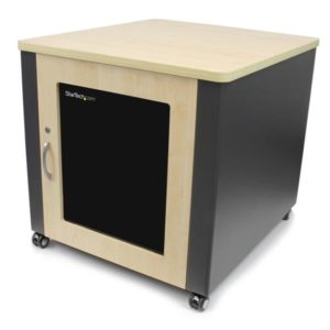 StarTech.com 12U Rack Enclosure Server Cabinet – 21.5 in. Deep – Quiet – Wood Finish RKQMCAB12V2